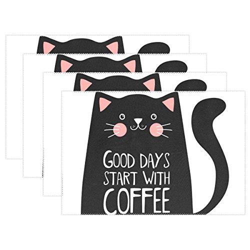 jeansame Tafelmat Set Placemats Leuke Kat Met Koffie 30 x 45 cm