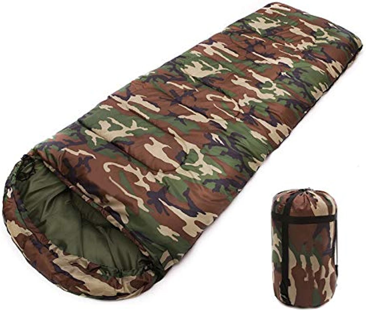 Portable Camouflage Envelope Sleeping Bag, Waterproof with Compression Sack for Traveling Camping Hiking Outdoor (Single)