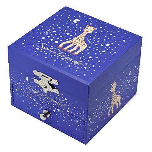 Trousselier - Sophie Die Giraffe - Schatztruhe & Musikschmuckdose - Spieluhr - Ideal für Kinder - Phosphoreszierend - Leuchtet im Dunkeln - Musik La Valse d'Amélie Poulain - Farbe dunkelblau