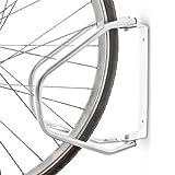 Relaxdays Fahrradständer zur Wandmontage, Wandhalterung für 1 Fahrrad, Verzinkt, Verstellbar, HBT: 32,5 x 9 x 28,5 cm, silber