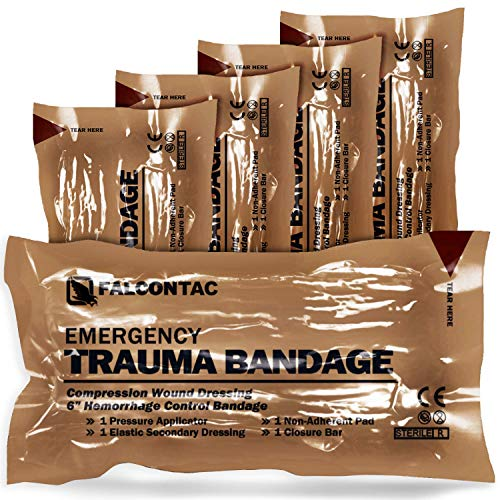 FalconTac Israeli 6 Inch Emergency Compression Bandage Wound Trauma Dressing DoubleVacuum Sterile Packaging
