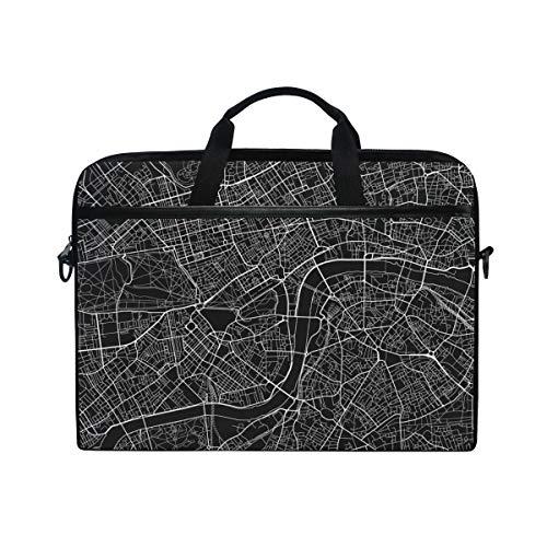 FOURFOOL 15-15.4 inch Laptop Tasche,Schwarz weißer Vektor Stadtplan London,Neue Leinwand Drucken Muster Aktentasche Laptop Schulter Messenger Handtasche Case Sleeve