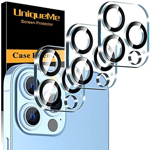 [3 Pezzi] UniqueMe Pellicola Fotocamera compatibile con iPhone 13 Pro/iPhone 13 Pro Max 6.1/6.7 Pollici Protezione Lente Pellicola Posteriore, Durezza 9H [Bubble Free] [New version]