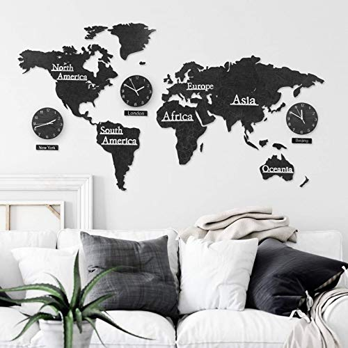 3D Holz Weltkarte mit Uhren Set - MDF Weltzeituhren Weltuhren Wanduhren Schilder Kontinente Länder Wand Deko Wall-Art (115 x 65 cm (3 Uhren), Holz schwarz)