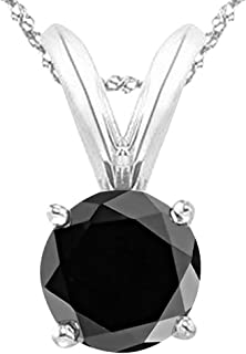 1/2-5 Carat Round Black Diamond 4 Prong Pendant Necklace (AAA Quality) W/ 16