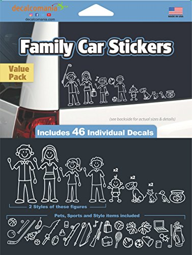 White Line Stick Family Stickers DIY Kit - Includes 46 Decals