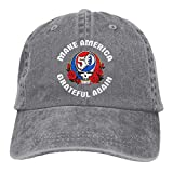 Unisex Adjustable Retro Cowboy Hat Make America Grateful Again Classic Baseball Cap Gray