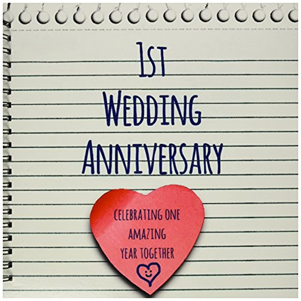 3dRose db_154428_2 1St Wedding Paper Celebrating 1 Year Together First Anniversaries One Yr Memory Book, 12 by 12-Inch