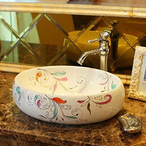 Jgophu Artistic Basin China Artistic Europe Style Aufsatzwaschbecken aus Porzellan Waschbecken aus Keramik bemaltes Waschbecken