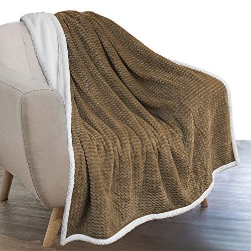 PAVILIA Sherpa Blanket Throw for Couch Sofa | Taupe Tan Beige Super Soft, Plush Chevron Throw Fleece Blanket | Zig Zag Fuzzy Fluffy Decorative Blanket Microfiber, 50x60
