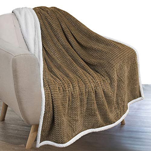 PAVILIA Chevron Sherpa Blanket Throw Taupe |Plush, Textured, Fuzzy Fleece Throw for Couch Sofa Bed | Soft Warm Reversible Fluffy Microfiber Blanket, 50x60 Inches