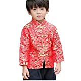 Little Boys Dragon Tang Coat Long Sleeve Chinese Clothing Children Costumes Boy Jackets Outfit Tops (Red, 10)