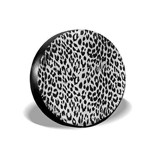 Cubierta de neumático ajustable de protección solar impermeable con estampado de leopardo blanco, adecuada para automóvil, todoterreno, rv, remolque, cubierta de rueda de neumático de 16 pulgadas