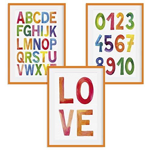 HappyWords® 3er Bilder Set - DIN A4 ohne Bilderrahmen | Bilder für Kinderzimmer & Bilder Babyzimmer | Junge Mädchen Baby | Kinder-Poster | Tiere Kinderbilder Kinderzimmer | (3er Set ABC Orange)