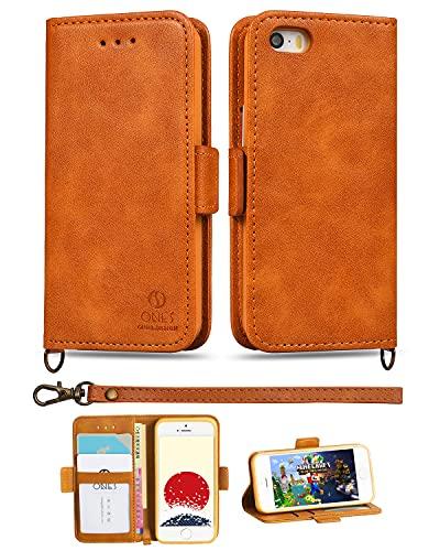 ONES 手帳型ケース iPhone 5/5s/SE(2016 第一世代) 耐衝撃 360°保護 『収納、スタンド機能、レザーランヤード付』〔高質PU皮革、美しい、シンプル〕 手作 手帳型 財布型 ケース カバー