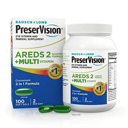 PreserVision AREDS 2 + Multivitamin, 2-in-1 Eye Vitamin, Contains Vitamin C, D, E & Zinc, 100 Softgels (Packaging May Vary)