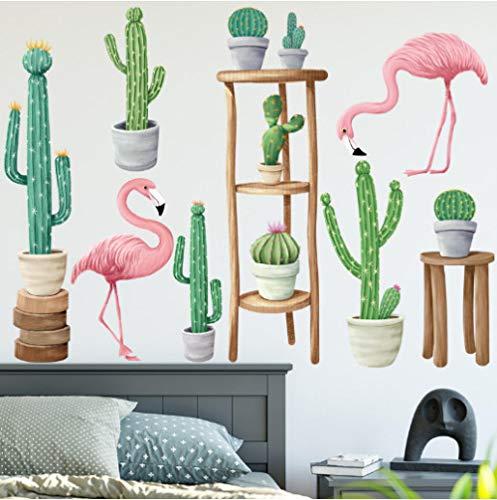 FHISDGN Tuin Cactus Plant Bonsai Op Kruk Flamingo Muurstickers Huisdecoratie Woonkamer Keuken Muurstickers Diy Mural Art Decoratie