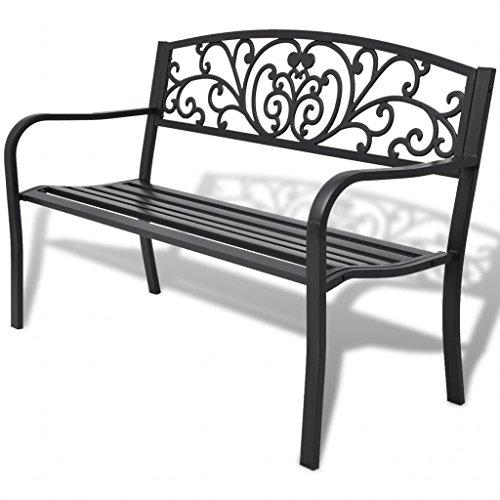 mewmewcat Gartenbank Metall 2-Sitzer 127 cm Sitzbank Garten Parkbank Eisenbank Gartenmöbel Bank für Garten Balkon Terrasse Outdoor, Stahl Gusseisen Schwarz