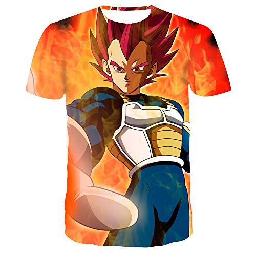 HXPainting Unisex Adolescentes Media Manga Corta 3D Impresión Anime Dragon Ball Z Super Saiyan God Vegeta Gráfica Casual Sudaderas Camisetas De Tirantes Tops,XXL