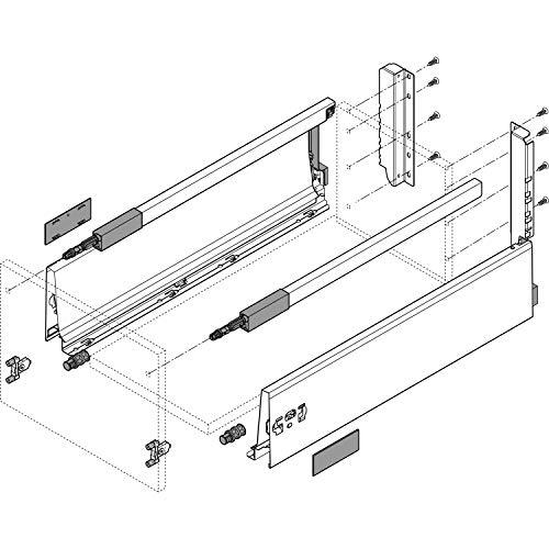 Blum Tandembox antaro D-Reling(K) Schubladenschienen-Set   1 Paar, 30kg 600mm   Vollauszug Blumotion, seidenweiß