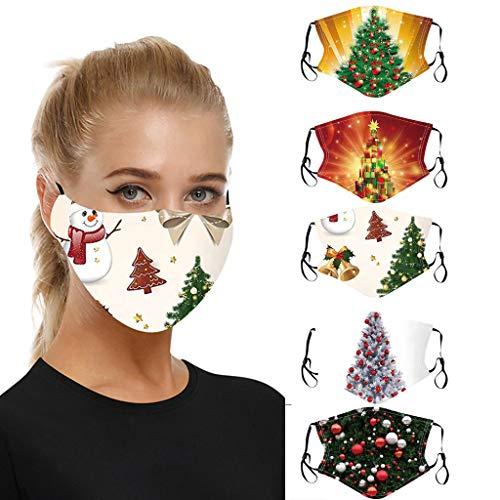 AmyGline 5 Stück Weihnachten-Mundschutz mit Motiv,Waschbar Wiederverwendbar,Baumwolle Atmungsaktiv Anti-Staub Multifunktionstuch Halstuch