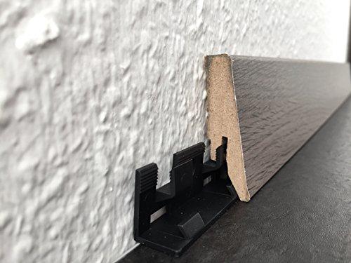 Innenecken, Außenecken & Endkappen von Joka für Sockelleisten, Fußbodenleisten auf verschiedenen Böden | Farben weiß oder Edelstahl-look (Befestigungsclip, Schwarz)