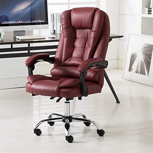 TUHFG Liegestuhl Hocker Computerstuhl Home Office Chair, Liege Bequemer Leder Massage Chefstuhl Business Rückenlehne (Farbe: Khaki)