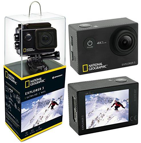 National Geographic Action CAM Explorer 3 4K Ultra HD 170°, WiFi, Pantalla LCD de 2 Pulgadas, HDMI, 2 baterías y Accesorios