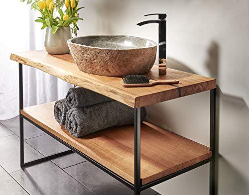 Waschtisch Eiche massiv Baumkante geölt Waschtischkonsole Holz (90 x 40 cm)