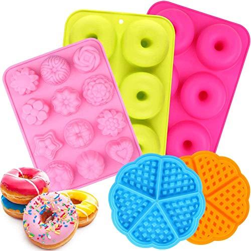 Moldes de silicona para donuts, 5 unidades, forma de donut y gofres, juego de moldes y diferentes formas para tartas, moldes de silicona para hornear con forma de flor para pasteles y helados