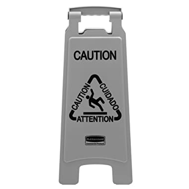 Rubbermaid Commercial Executive Series 26 Inch Multilingual  Caution  Sign, 2-Sided, Gray (1867506)
