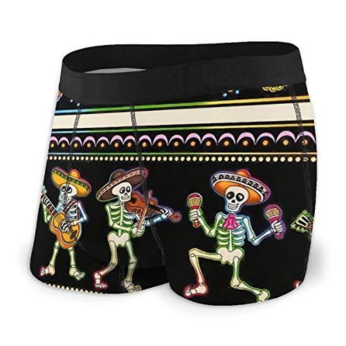 LAOLUCKY Herren Boxershorts Sugar Skull Mexican Day of The Dead Atmungsaktiv Weich Sexy Unterwäsche für Männer Jungen Gr. X-Large, Schwarz