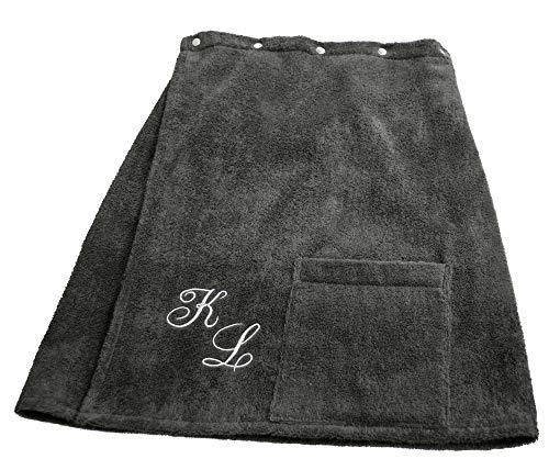 Lashuma Framsohn sauna handdoek Fun Sarong saunakilt voor de heren Uni of geborduurd met monogram, kleur antraciet grijs