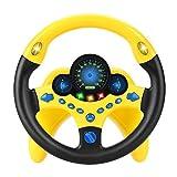 LQKYWNA Juguete del Volante, Simulador De Conducción para Niños Juguete del Coche Copiloto para Niños Rompecabezas del Volante Regalo Educativo Temprano (Yellow)