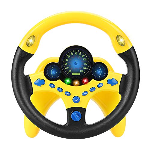 LQKYWNA Lenkrad-Spielzeug, Kinder-Fahrsimulator Auto-Spielzeug Kinder Copilot Lenkrad Puzzle frühes pädagogisches Geschenk (Yellow)
