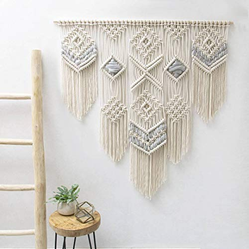 "Macrame Wall Decor Hanging - Bohemian Home Geometric Art Decor - Macrame Curtain-Macrame Wedding Backdrop for Christmas & Holiday Decorations W 38"" x L 39""Inch (1)"