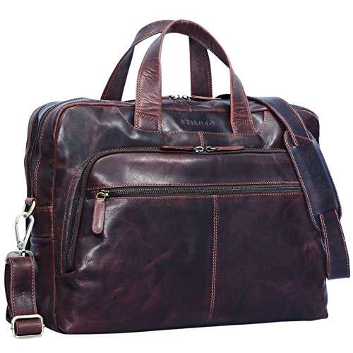 STILORD 'Lias' Umhängetasche Leder Herren Vintage 15,6 Zoll Businesstasche Laptoptasche groß Arbeit Büro Uni Antik Leder, Farbe:Kara - braun