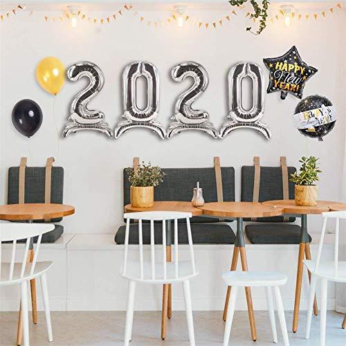 Kit de Guirnalda de Globos Blanco y Negro y Oro Globos 2020,Cerveza Champagne Foil Balloon Banner Tassel Gold Black Silver Silver Latex Balloon for KTV Hotel Gatherings Diseño de año Nuevo