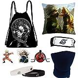 RESKY Naruto - Juego de regalo, 1 bolsa con cordón, 50 pegatinas, 3 pines de botón, 1 soporte para anillo de teléfono, 1 collar, 2 blacelet, regalo para fans (Naruto gist) Talla única Multi