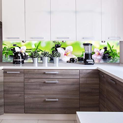 wandmotiv24 Küchenrückwand Orchidee Bambus Steine Glas 260 x 50cm (B x H) - Acrylglas 4mm Nischenrückwand Spritzschutz Fliesenspiegel-Ersatz M1087