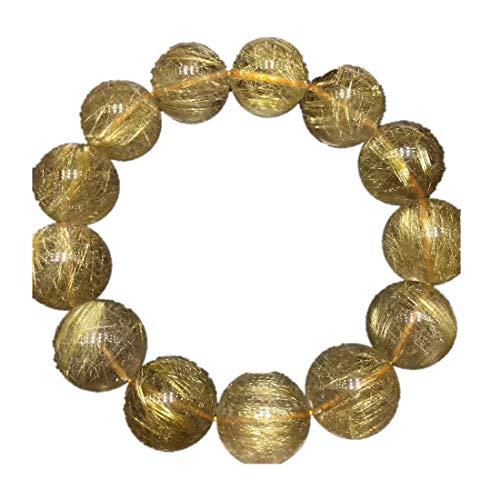 Pulsera de 18 mm de oro rutilado natural de Brasil para mujer, cuentas redondas de cuarzo y piedras de cristal, joyería elástica AAAAA