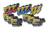 vhbw 15x Druckerpatronen Tintenpatronen Set mit Chip für Brother MFC-J 4610 DW, 470 DW, 4710 DW wie LC121, LC121BK, LC121C, LC121M, LC121Y.