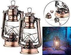 Lampe à huile Lunartec : 2 set de lanternes d'assaut petroleum avec piston en verre, 24 cm (lanternes)