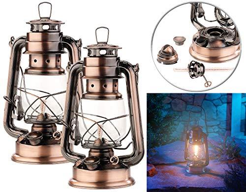 Lunartec Öllampe: 2er-Set Petroleum-Sturmlaternen mit Glaskolben, 24 cm (Laternen)