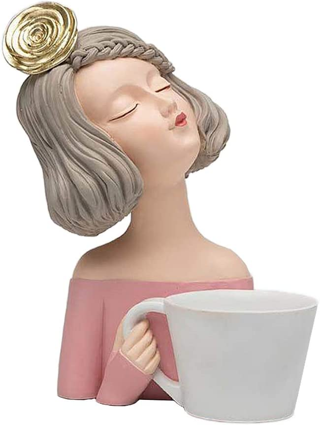 Super popular specialty store LOVIVER Minneapolis Mall Moden Gorgeous Girl with Cup Figurine Tab Resin Art Home