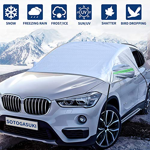 SOTOGASUKI Windshield Snow Cover Ice Frost Cover for Car Freeze Protector Winter Waterproof Wind-Proof Summer Auto Sun Shade All Weather Fits Most Cars (Sliver)