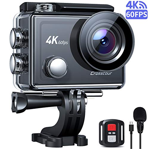 Crosstour Action Cam Nativo 4K 60FPS Touch Screen Zoom 8X Microfono, Stabilizzazione EIS Avanzato WiFi Impermeabile 40M Vari Accessori, Fotocamera Sub