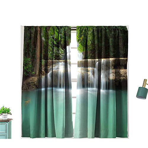 Zitenious Solid Rod Pocket Top Waterfall Thailand Blackout Curtains for Living Room, W63 x L55