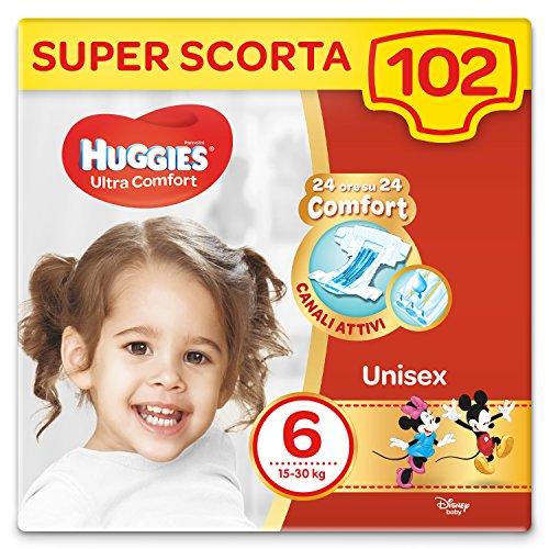 HUGGIES Pannolini Ultra Comfort, Bambini Unisex, Taglia 6 (16-30 Kg), Confezione da 102 Pannolini