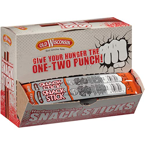 Old Wisconsin Turkey Sausage Snack Sticks, Naturally Smoked, Ready to Eat, High Protein, Low Carb, Keto, Gluten Free, Counter Box, 42 Individually Wrapped Sticks
